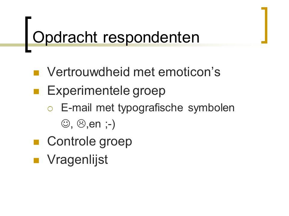 Opdracht respondenten Vertrouwdheid met emoticon's Experimentele groep  E-mail met typografische symbolen, ,en ;-) Controle groep Vragenlijst