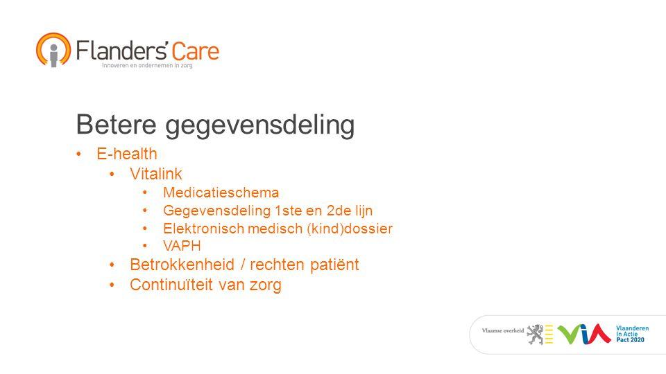 Betere gegevensdeling E-health Vitalink Medicatieschema Gegevensdeling 1ste en 2de lijn Elektronisch medisch (kind)dossier VAPH Betrokkenheid / rechten patiënt Continuïteit van zorg