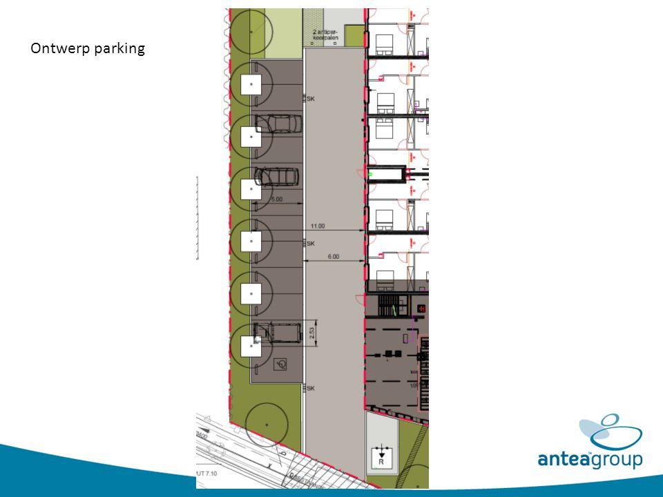 Referentiebeelden Verharding: rijweg en parkeervakken in betonstraatstenen 22/11/10 cm Rijweg: elleboogverband (kleur grijs) Parkeervakken: halfsteensverband (kleur basaltzwart) Boomrooster met boombeugel