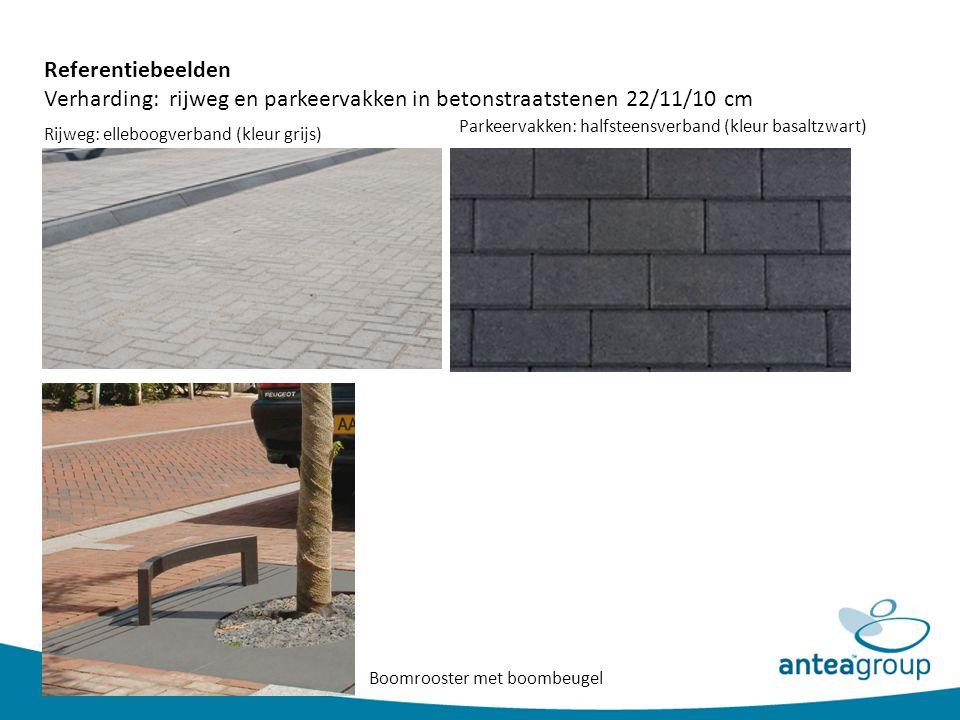 Referentiebeelden Verharding: rijweg en parkeervakken in betonstraatstenen 22/11/10 cm Rijweg: elleboogverband (kleur grijs) Parkeervakken: halfsteens