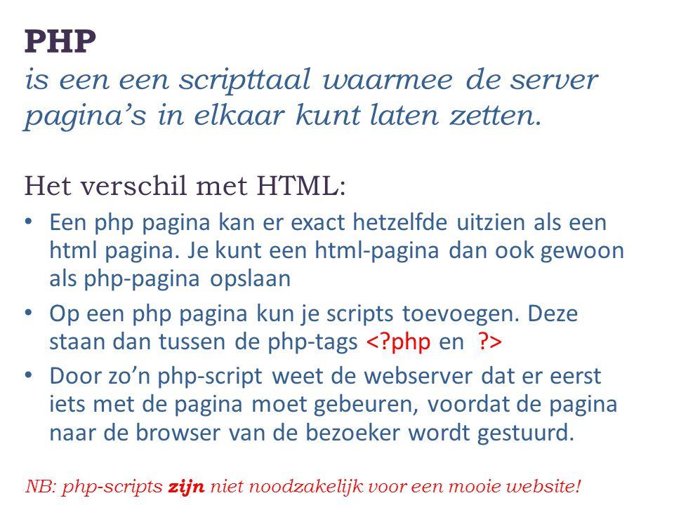 PHP is een een scripttaal waarmee de server pagina's in elkaar kunt laten zetten. Het verschil met HTML: Een php pagina kan er exact hetzelfde uitzien