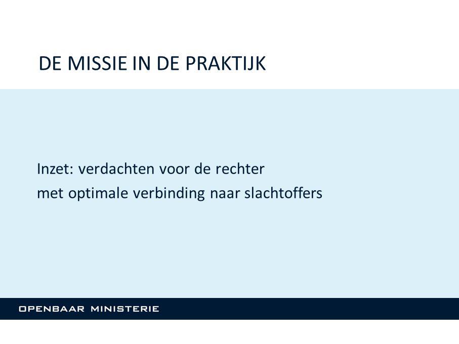 Inzet: verdachten voor de rechter met optimale verbinding naar slachtoffers DE MISSIE IN DE PRAKTIJK
