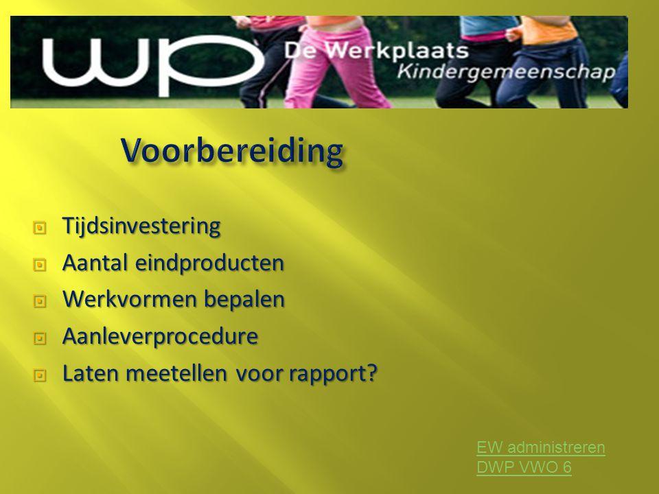  Tijdsinvestering  Aantal eindproducten  Werkvormen bepalen  Aanleverprocedure  Laten meetellen voor rapport? EW administreren DWP VWO 6