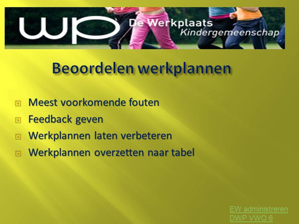 Meest voorkomende fouten  Feedback geven  Werkplannen laten verbeteren  Werkplannen overzetten naar tabel EW administreren DWP VWO 6