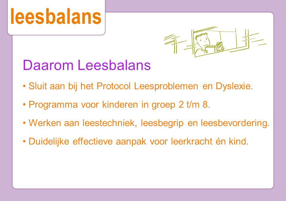Daarom Leesbalans Sluit aan bij het Protocol Leesproblemen en Dyslexie. Programma voor kinderen in groep 2 t/m 8. Werken aan leestechniek, leesbegrip