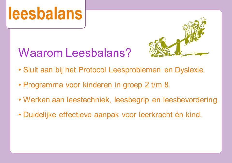 Waarom Leesbalans? Sluit aan bij het Protocol Leesproblemen en Dyslexie. Programma voor kinderen in groep 2 t/m 8. Werken aan leestechniek, leesbegrip