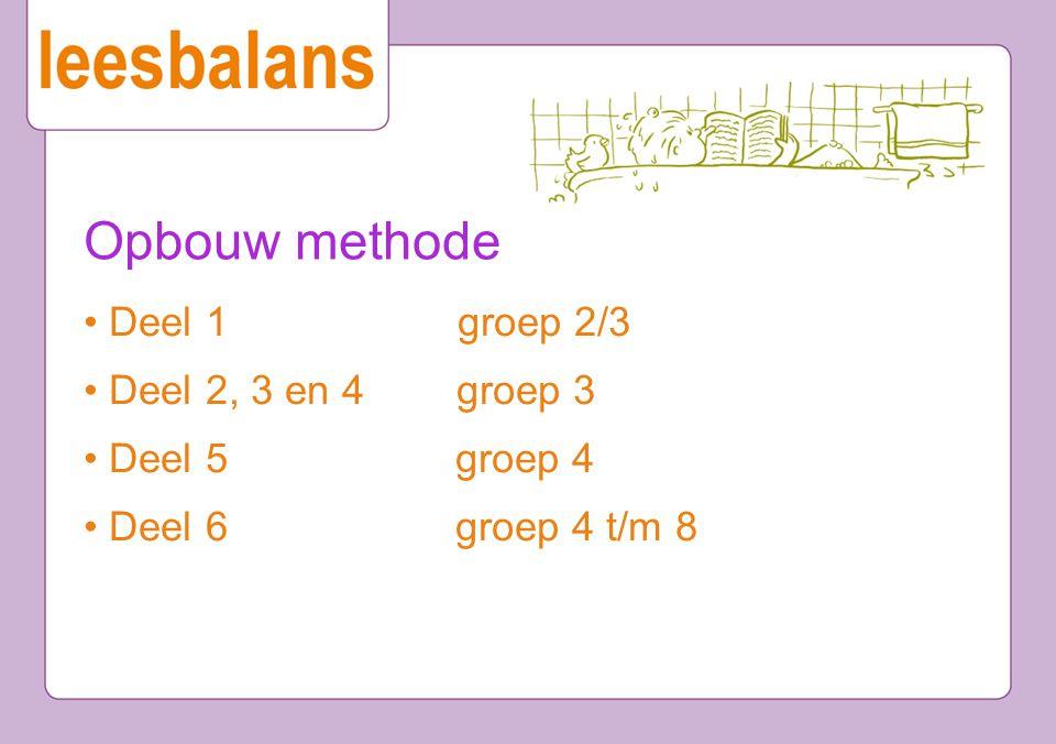 Opbouw methode Deel 1 groep 2/3 Deel 2, 3 en 4 groep 3 Deel 5 groep 4 Deel 6 groep 4 t/m 8