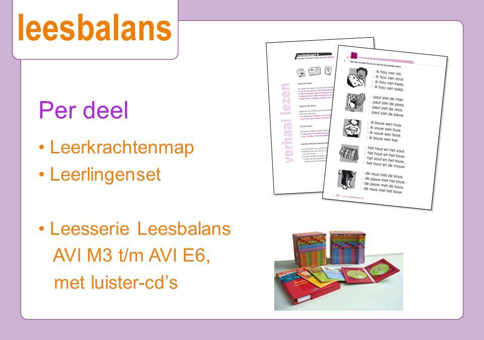 Per deel Leerkrachtenmap Leerlingenset Leesserie Leesbalans AVI M3 t/m AVI E6, met luister-cd's