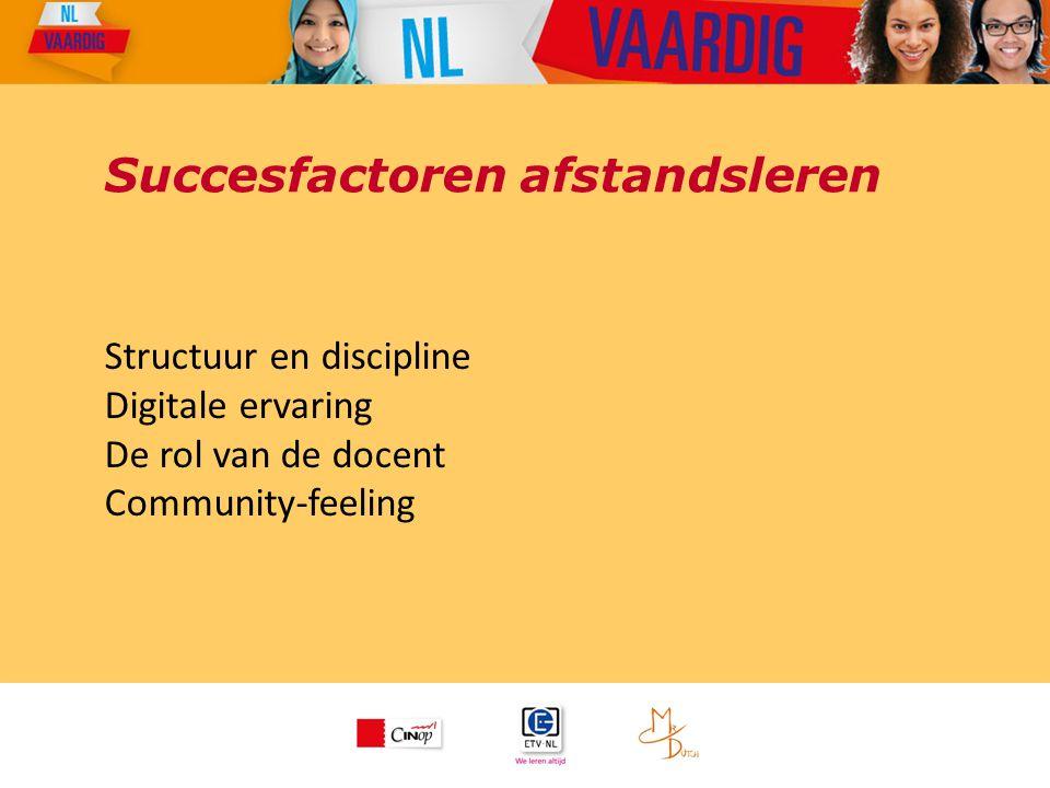 Succesfactoren afstandsleren Structuur en discipline Digitale ervaring De rol van de docent Community-feeling