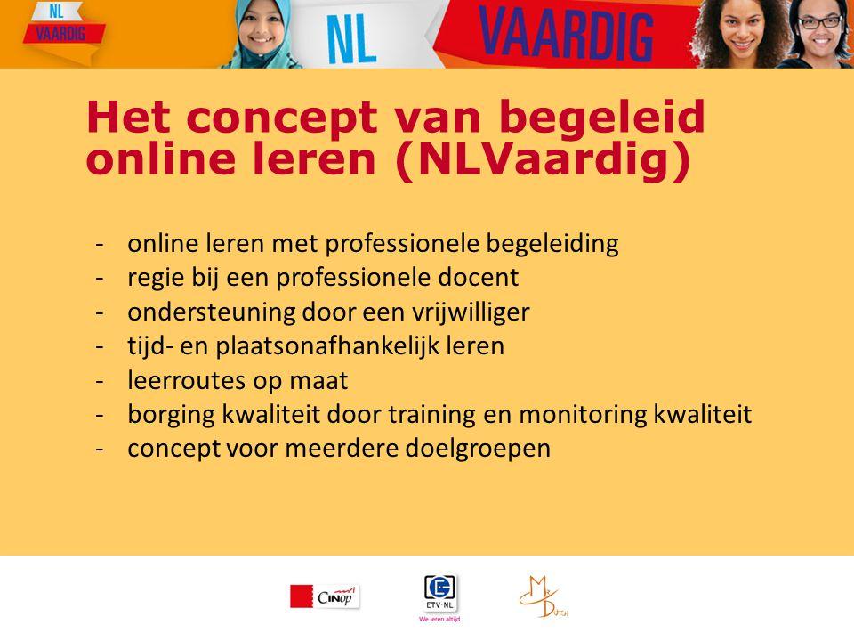 Het concept van begeleid online leren (NLVaardig) -online leren met professionele begeleiding -regie bij een professionele docent -ondersteuning door