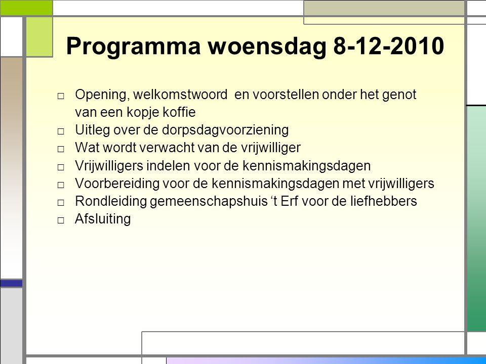 Programma woensdag 8-12-2010 □ Opening, welkomstwoord en voorstellen onder het genot van een kopje koffie □ Uitleg over de dorpsdagvoorziening □ Wat w