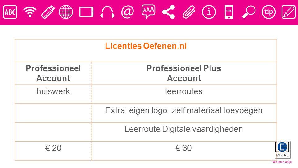 Licenties Oefenen.nl Professioneel Account Professioneel Plus Account huiswerkleerroutes Extra: eigen logo, zelf materiaal toevoegen Leerroute Digitale vaardigheden € 20€ 30