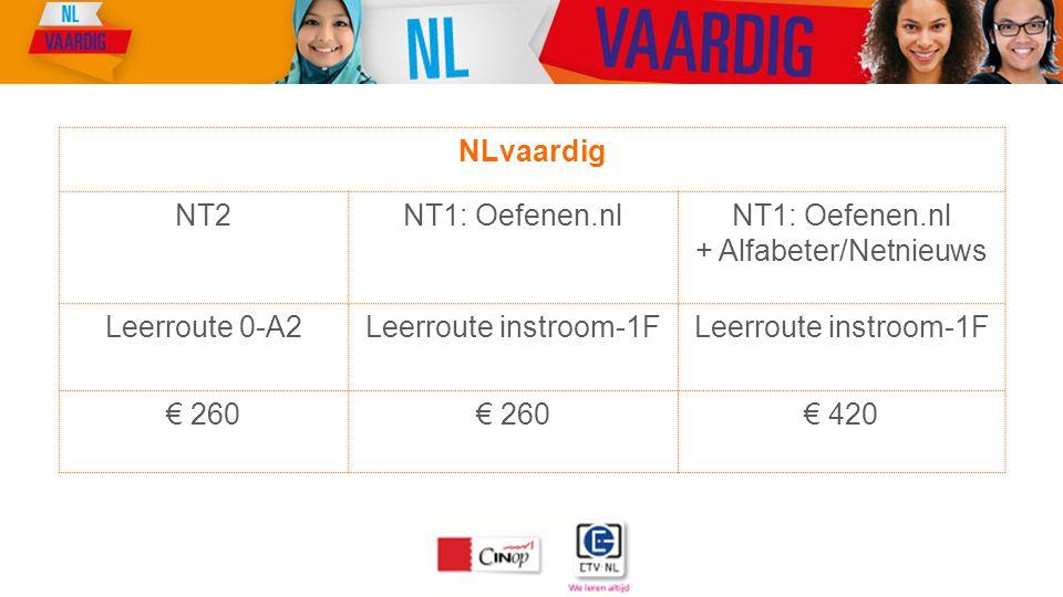 NLvaardig NT2NT1: Oefenen.nl + Alfabeter/Netnieuws Leerroute 0-A2Leerroute instroom-1F € 260 € 420