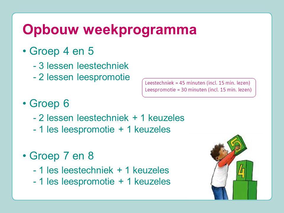 Opbouw weekprogramma Groep 4 en 5 - 3 lessen leestechniek - 2 lessen leespromotie Groep 6 - 2 lessen leestechniek + 1 keuzeles - 1 les leespromotie + 1 keuzeles Groep 7 en 8 - 1 les leestechniek + 1 keuzeles - 1 les leespromotie + 1 keuzeles Leestechniek = 45 minuten (incl.