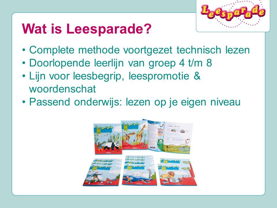 Wat is Leesparade? Complete methode voortgezet technisch lezen Doorlopende leerlijn van groep 4 t/m 8 Lijn voor leesbegrip, leespromotie & woordenscha