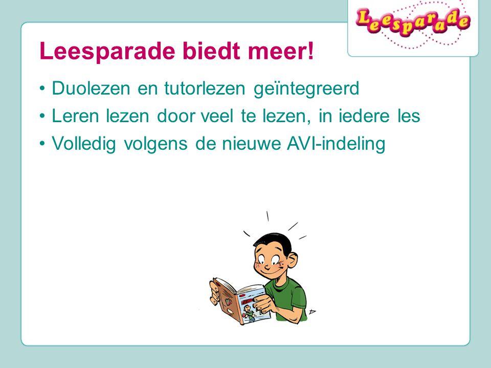 Leesparade biedt meer! Duolezen en tutorlezen geïntegreerd Leren lezen door veel te lezen, in iedere les Volledig volgens de nieuwe AVI-indeling