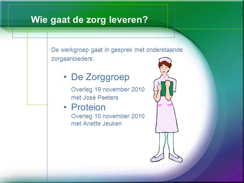 Wie gaat de zorg leveren? De werkgroep gaat in gesprek met onderstaande zorgaanbieders: De Zorggroep Overleg 19 november 2010 met José Peeters Proteio