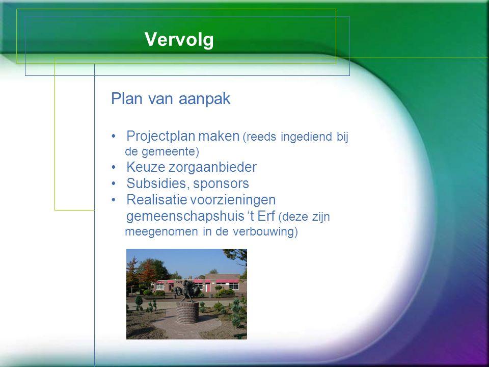 Vervolg Plan van aanpak Projectplan maken (reeds ingediend bij de gemeente) Keuze zorgaanbieder Subsidies, sponsors Realisatie voorzieningen gemeensch