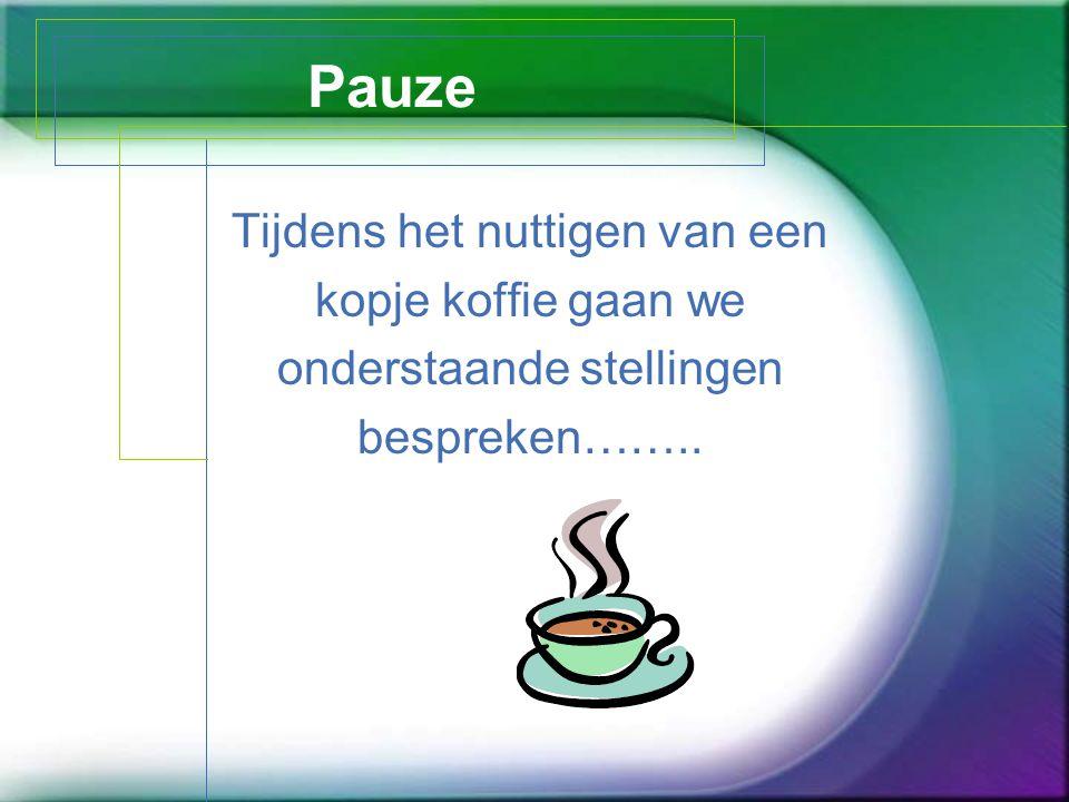 Pauze Tijdens het nuttigen van een kopje koffie gaan we onderstaande stellingen bespreken……..