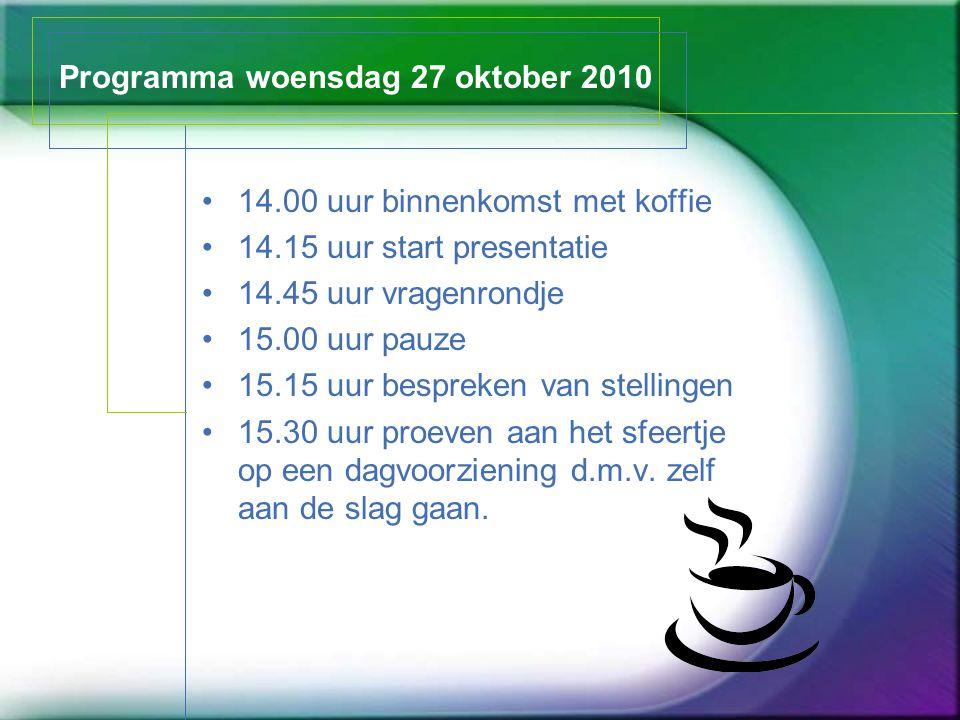 Programma woensdag 27 oktober 2010 14.00 uur binnenkomst met koffie 14.15 uur start presentatie 14.45 uur vragenrondje 15.00 uur pauze 15.15 uur bespr
