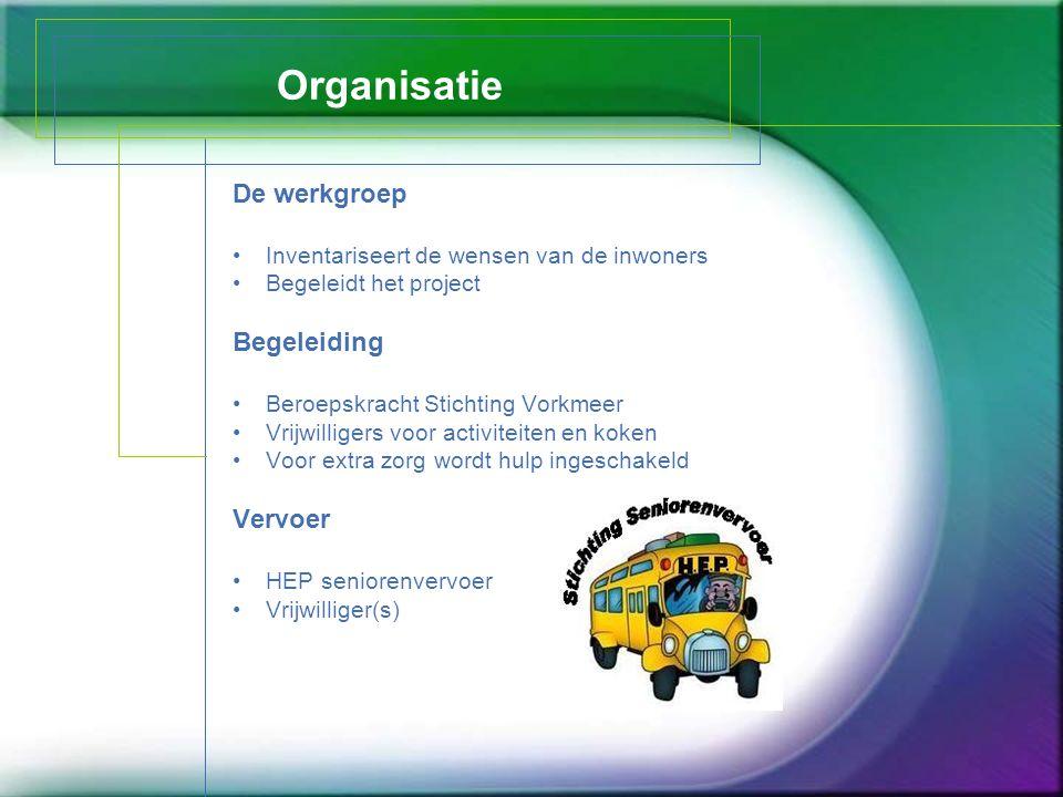 Organisatie De werkgroep Inventariseert de wensen van de inwoners Begeleidt het project Begeleiding Beroepskracht Stichting Vorkmeer Vrijwilligers voo