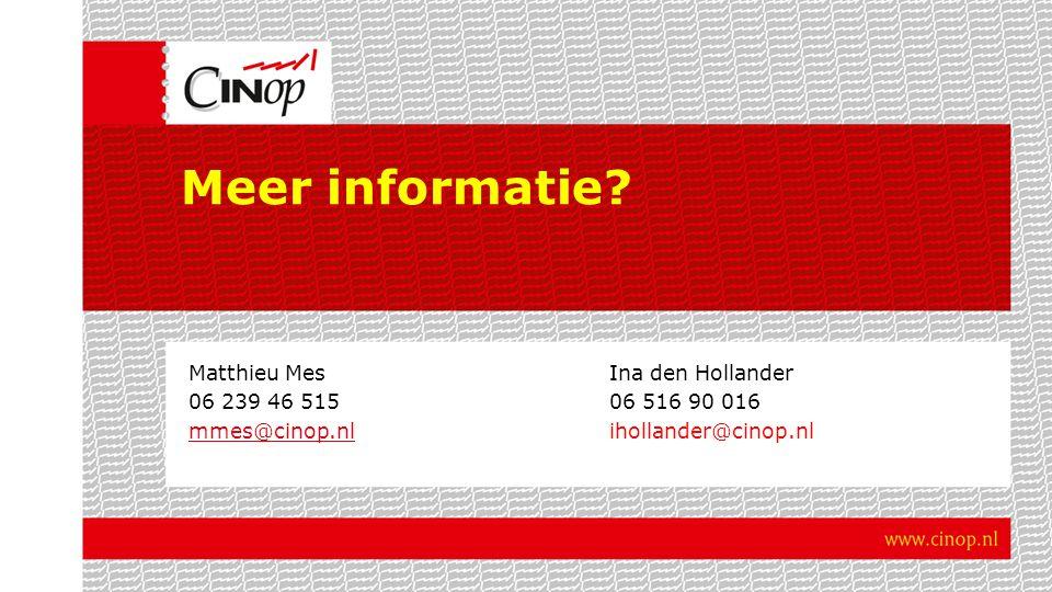 Meer informatie? Matthieu MesIna den Hollander 06 239 46 51506 516 90 016 mmes@cinop.nlmmes@cinop.nlihollander@cinop.nl