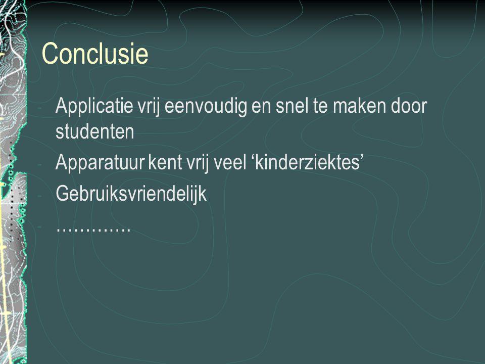 Conclusie - Applicatie vrij eenvoudig en snel te maken door studenten - Apparatuur kent vrij veel 'kinderziektes' - Gebruiksvriendelijk - ………….