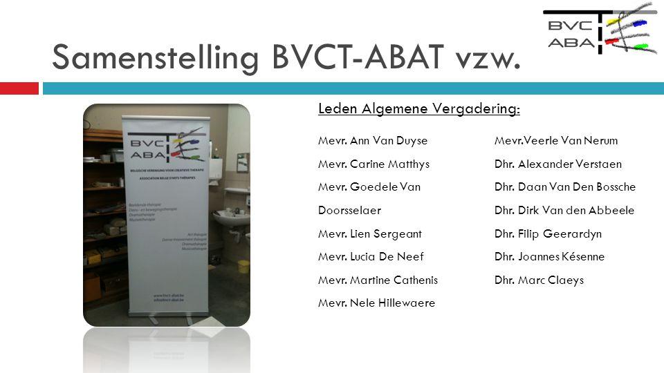 Samenstelling BVCT-ABAT vzw.Leden Algemene Vergadering: Mevr.