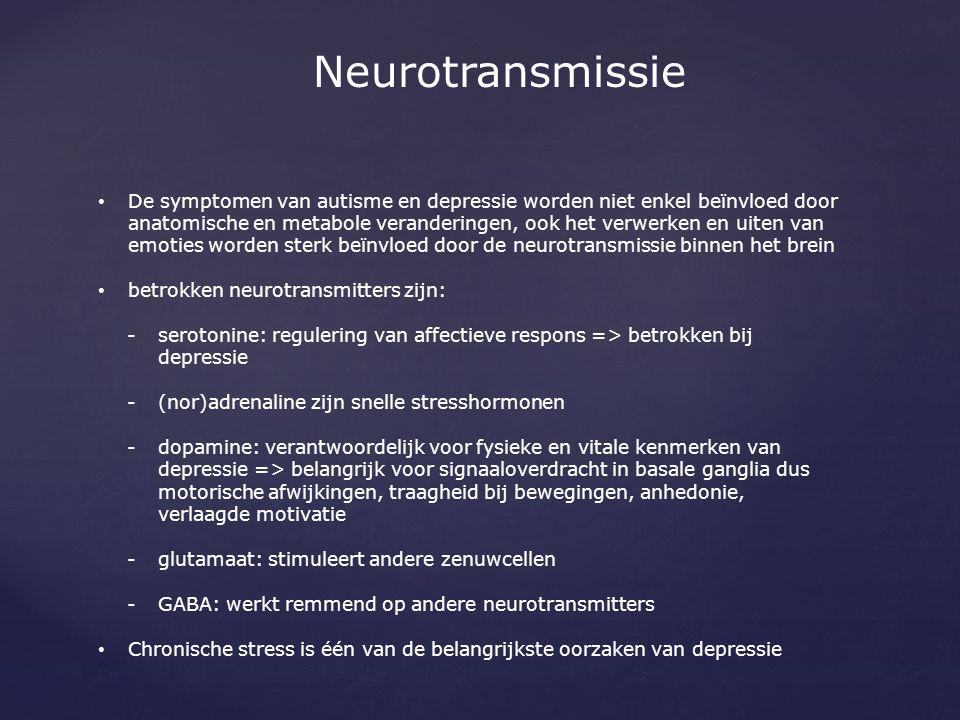 Neurotransmissie De symptomen van autisme en depressie worden niet enkel beïnvloed door anatomische en metabole veranderingen, ook het verwerken en ui