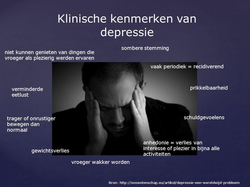 Klinische kenmerken van depressie Bron: http://eoswetenschap.eu/artikel/depressie-een-wereldwijd-probleem vaak periodiek = recidiverend trager of onru