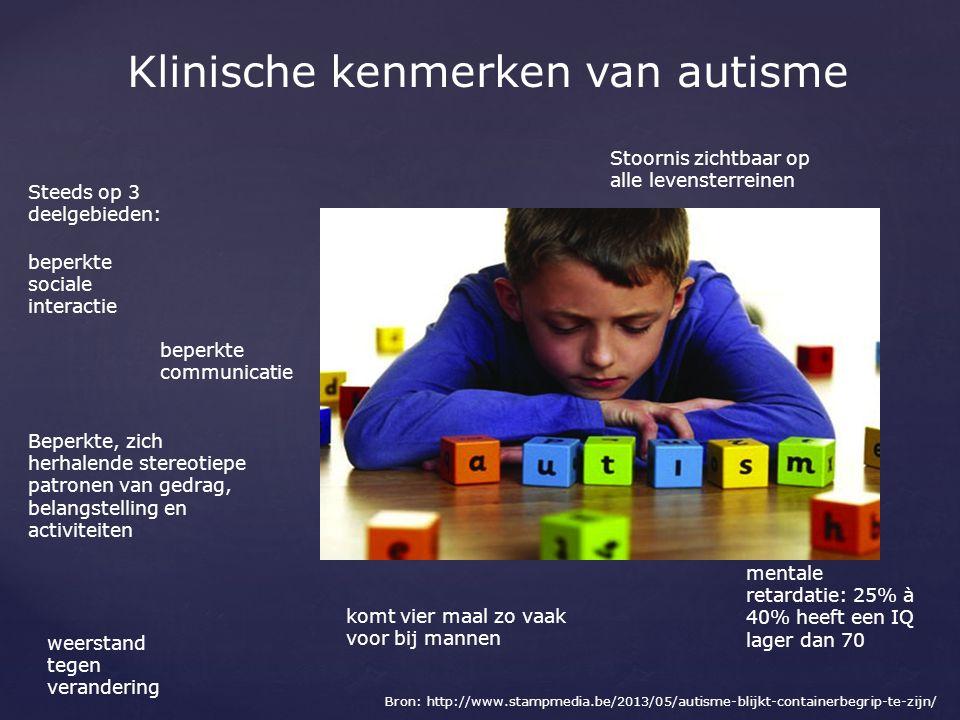 Klinische kenmerken van autisme Stoornis zichtbaar op alle levensterreinen beperkte communicatie mentale retardatie: 25% à 40% heeft een IQ lager dan