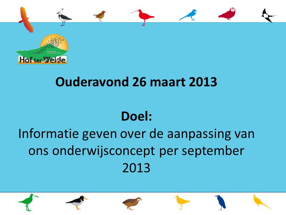 Ouderavond 26 maart 2013 Doel: Informatie geven over de aanpassing van ons onderwijsconcept per september 2013