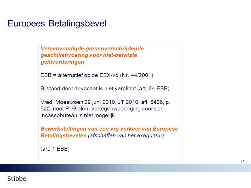 21 Europees Betalingsbevel Vereenvoudigde grensoverschrijdende geschillenvoering voor niet-betwiste geldvorderingen EBB = alternatief op de EEX-vo (Nr