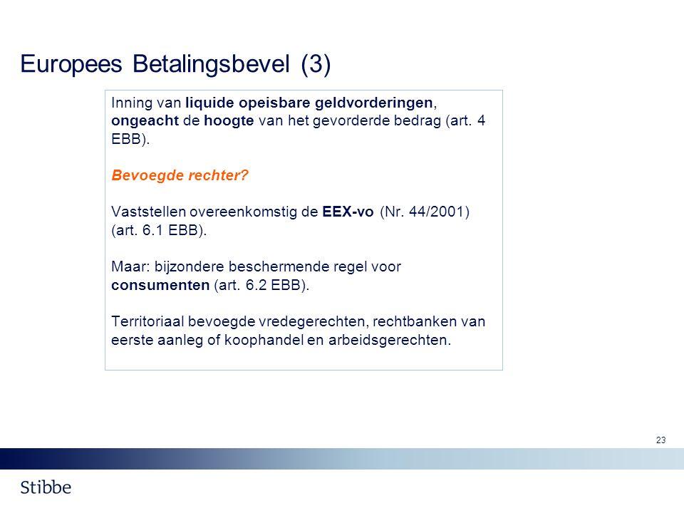 23 Europees Betalingsbevel (3) Inning van liquide opeisbare geldvorderingen, ongeacht de hoogte van het gevorderde bedrag (art. 4 EBB). Bevoegde recht