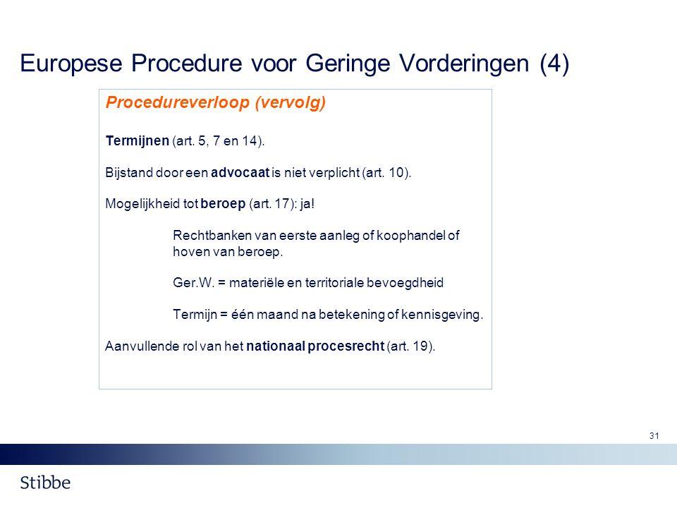 31 Europese Procedure voor Geringe Vorderingen (4) Procedureverloop (vervolg) Termijnen (art. 5, 7 en 14). Bijstand door een advocaat is niet verplich