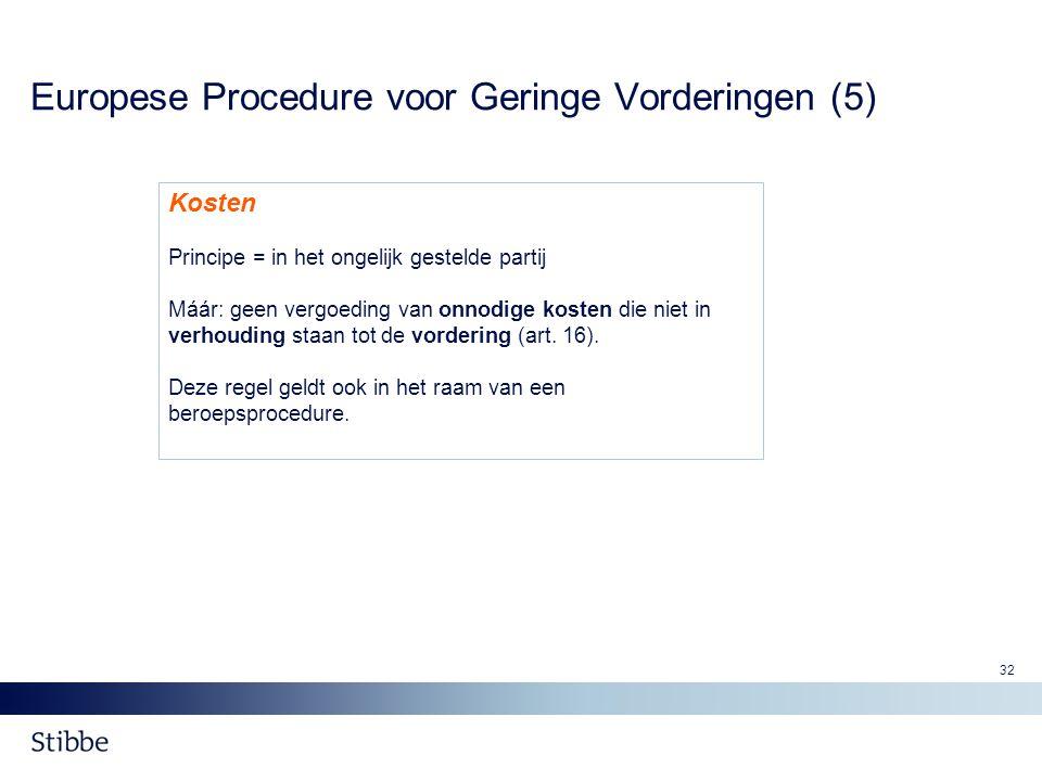 32 Europese Procedure voor Geringe Vorderingen (5) Kosten Principe = in het ongelijk gestelde partij Máár: geen vergoeding van onnodige kosten die nie