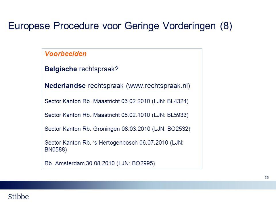 35 Europese Procedure voor Geringe Vorderingen (8) Voorbeelden Belgische rechtspraak? Nederlandse rechtspraak (www.rechtspraak.nl) Sector Kanton Rb. M