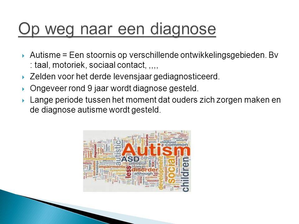  Autisme = Een stoornis op verschillende ontwikkelingsgebieden. Bv : taal, motoriek, sociaal contact,,,,,  Zelden voor het derde levensjaar gediagno