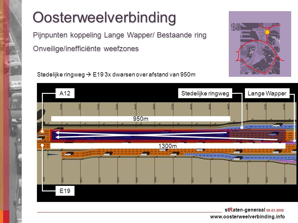 0 stRaten-generaal 08-03-2008 Oosterweelverbinding Pijnpunten koppeling Lange Wapper/ Bestaande ring www.oosterweelverbinding.info Onveilige/inefficië