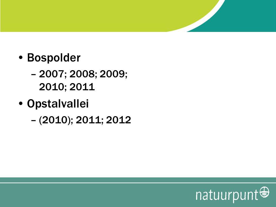 Bospolder –2007; 2008; 2009; 2010; 2011 Opstalvallei –(2010); 2011; 2012