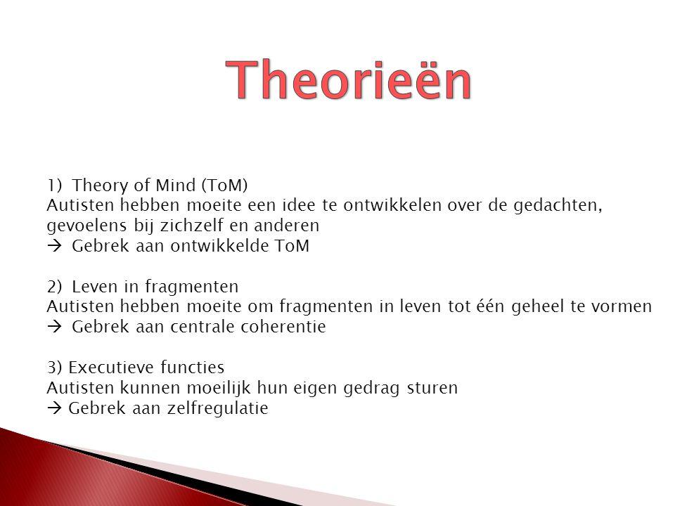 1)Theory of Mind (ToM) Autisten hebben moeite een idee te ontwikkelen over de gedachten, gevoelens bij zichzelf en anderen  Gebrek aan ontwikkelde To