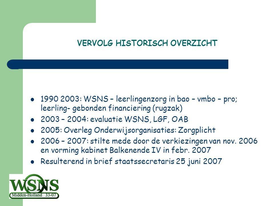 VERVOLG HISTORISCH OVERZICHT 1990 2003: WSNS – leerlingenzorg in bao – vmbo – pro; leerling- gebonden financiering (rugzak) 2003 – 2004: evaluatie WSN