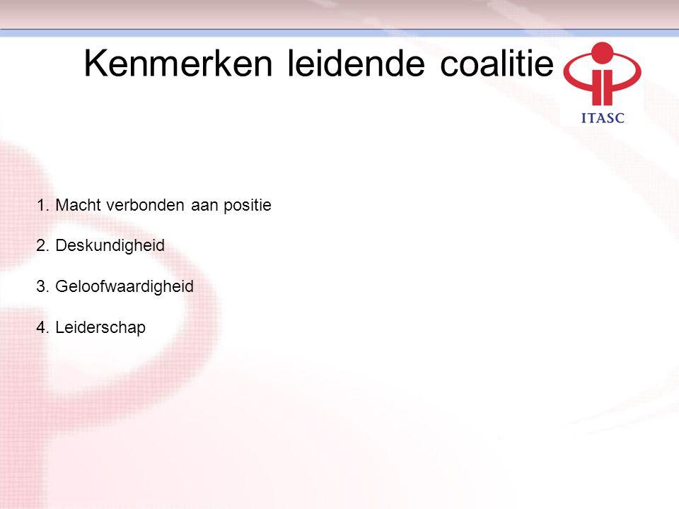 Kenmerken leidende coalitie 1. Macht verbonden aan positie 2. Deskundigheid 3. Geloofwaardigheid 4. Leiderschap Fase 2