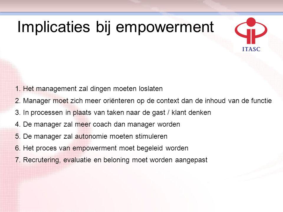 Implicaties bij empowerment 1. Het management zal dingen moeten loslaten 2. Manager moet zich meer oriënteren op de context dan de inhoud van de funct