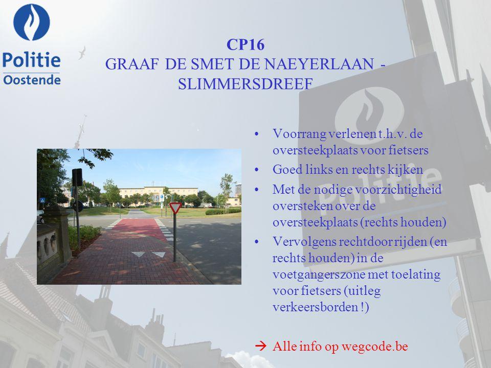 CP16 GRAAF DE SMET DE NAEYERLAAN - SLIMMERSDREEF Voorrang verlenen t.h.v. de oversteekplaats voor fietsers Goed links en rechts kijken Met de nodige v