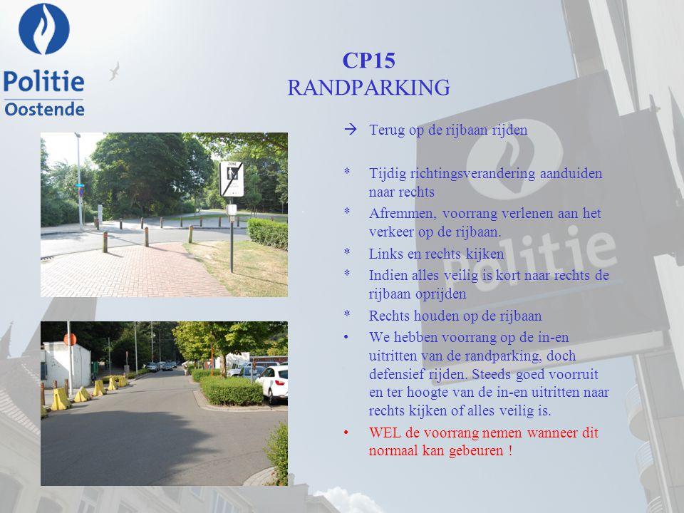 CP15 RANDPARKING  Terug op de rijbaan rijden *Tijdig richtingsverandering aanduiden naar rechts *Afremmen, voorrang verlenen aan het verkeer op de ri