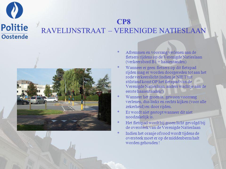 CP8 RAVELIJNSTRAAT – VERENIGDE NATIESLAAN *Afremmen en voorrang verlenen aan de fietsers rijdens op de Verenigde Natieslaan (verkeersbord B1 + haaient