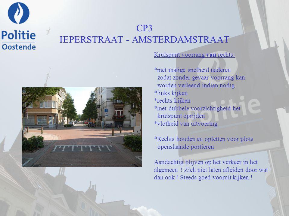 CP3 IEPERSTRAAT - AMSTERDAMSTRAAT Kruispunt voorrang van rechts: *met matige snelheid naderen zodat zonder gevaar voorrang kan worden verleend indien