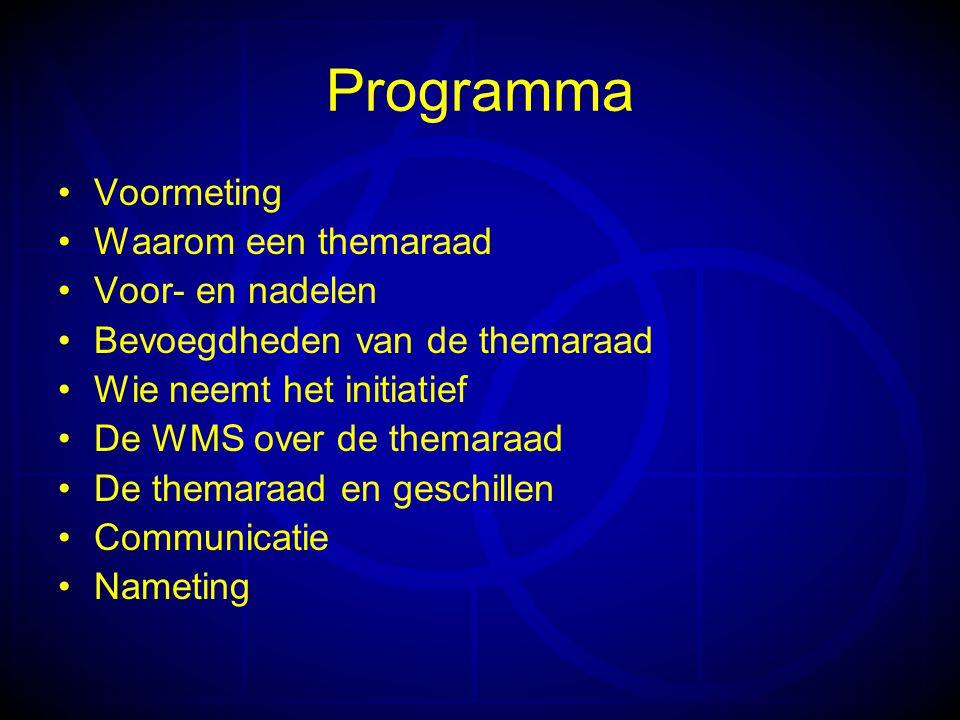 Programma Voormeting Waarom een themaraad Voor- en nadelen Bevoegdheden van de themaraad Wie neemt het initiatief De WMS over de themaraad De themaraad en geschillen Communicatie Nameting