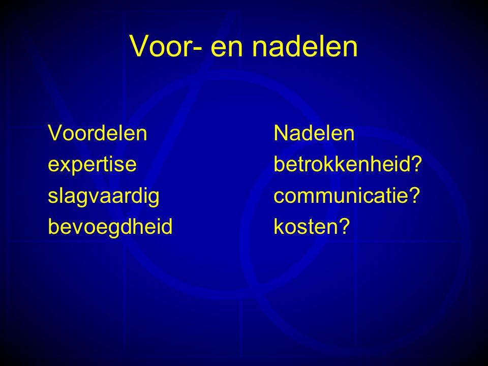 Voor- en nadelen VoordelenNadelen expertisebetrokkenheid.